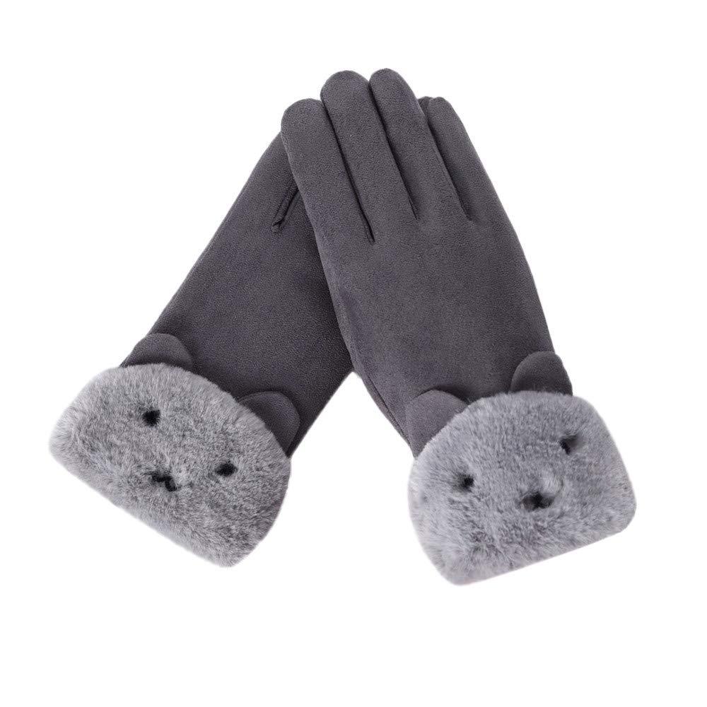 Femme Gants Tactiles Chaud Hiver Gants Avec DoubléS De Molleton Sports Cyclisme Velours Gloves Touch Screen Cosplay Souris– Taille : About 24 X19 cm