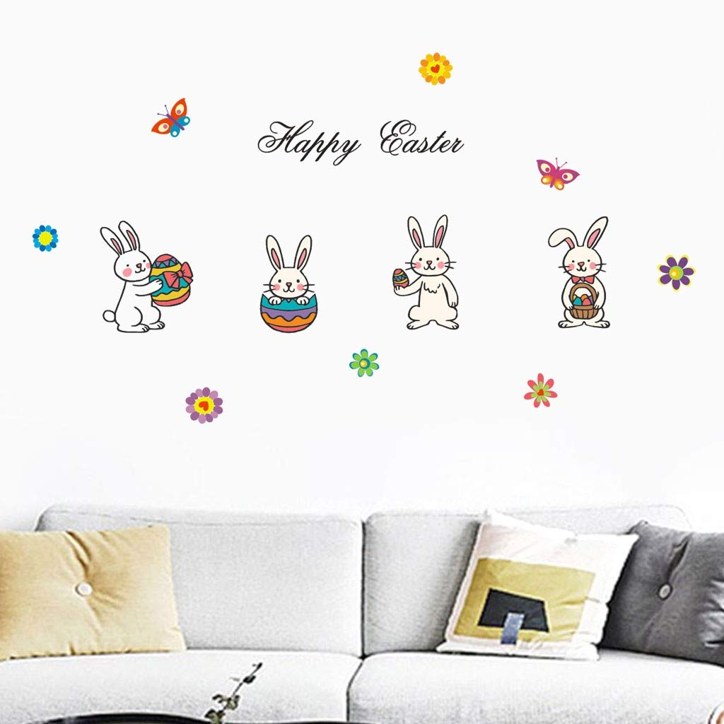 Little Story  Wall Decals Clearance , Happy Easter Rabbit Vinyl Decal Art Wall Sticker DIY Home Room Decor