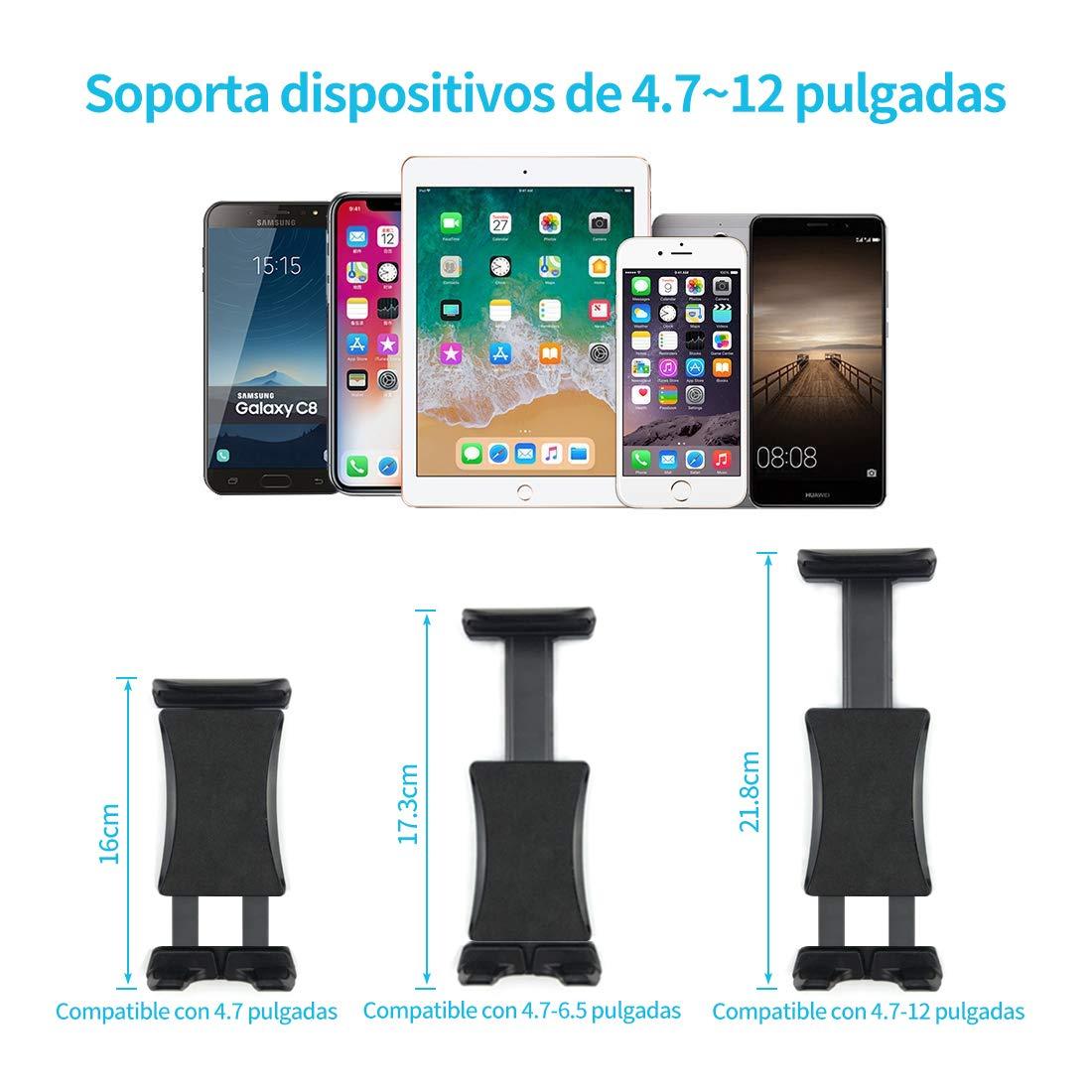 Supporto Tablet Auto Supporto Rotante a 360 Gradi Staffa da 4,5-10,5 Pollici Compatibile con iPad Supporto Tablet Poggiatesta Auto Xiaomi e altri Table Silicone Antiscivolo