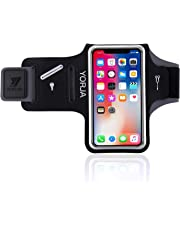 YORJA Running Armband Fits iPhone X/Xs/Xr/Xs max/8 Plus/7 Plus/6 Plus, Sweat Proof Sports Case with Key Holder,Card & Money Pocket for Jogging,Hiking,Biking,Walking,Workout