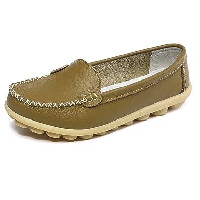 SCIUN Damen Mokassin Freizeit Flache Schuhe Low-Top Leder Loafers Slipper Erbsenschuhe  Braun