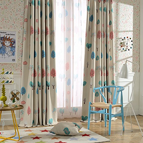melodieux cartoon trees blackout grommet top curtain