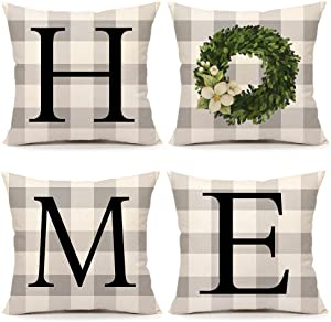 Buffalo Home Boxwood Spring Set of 4 Throw Pillow Cover Farmhouse Cushion Case for Sofa Couch 18 x 18 Inches Cotton Linen