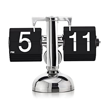 KABB DZ-3 Modern Digital Mechanical Retro Flip Dоwn Clock wіth Internal  Gear Operated (Black)