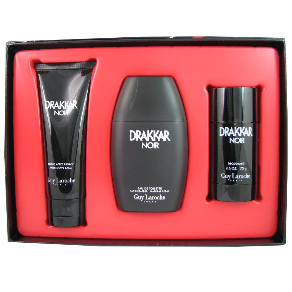Guy Laroche Drakkar Noir 3 Piece Gift Set for Men: Eau De Toilette Spray, Aftershave Balm, Deodorant Stick