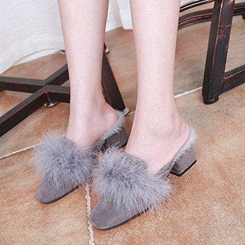 Perezosos Punta negro con 5 Planos 35 Zapatos Baotou Piso Peludos de Moda con EUR de Zapatos w0qY78