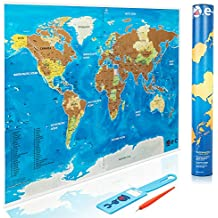 Scratch Off World Map Poster with Outlined US States - Durable Color World Map for Travelers - Scratch Maps Make Great Gifts for World Traveler - Visit Countries Map + Scratch Pen + Bag Tag by O.e-c