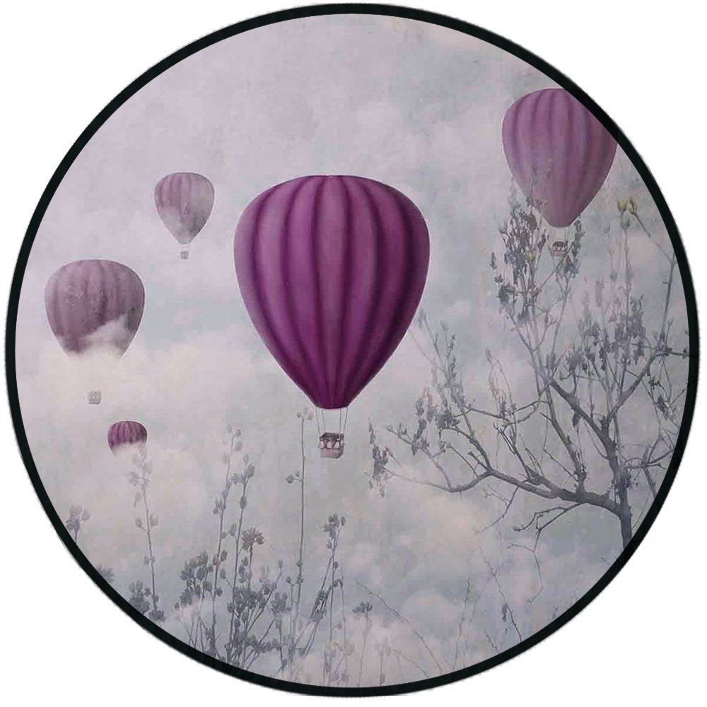 Printing Round Rug,Fantasy House Decor,Hot Air Balloons in the Clouds Dream Journey to Secret Paradise Romantic Design Mat Non-Slip Soft Entrance Mat Door Floor Rug Area Rug For Chair Living Room,Blue