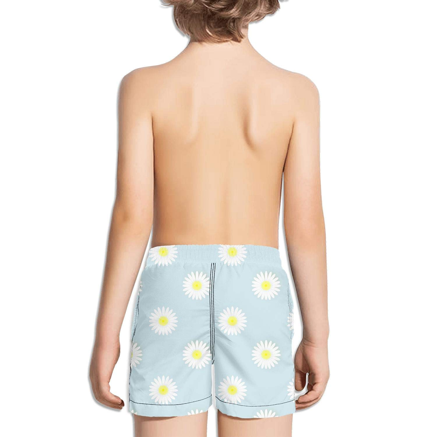 Boys Kids Daisy Pattern SkyBlue Quick Dry Beach Swim Trunk Novelty Swimsuit Beach Shorts with Drawstring