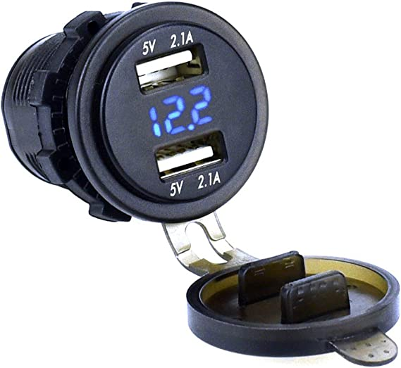 12V Car 3.1A Dual USB Charger Socket Adapter Voltage Voltmeter Motorcycle Blue