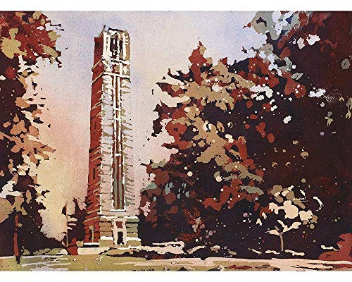 Watercolor painting of the North Carolina Statue University Bell-Tower in Raleigh, NC at dusk. 12x18