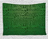 Ambesonne Digital Tapestry by, Computer Art Backdrop with Circuit Board Diagram Hardware Wire Illustration, Wall Hanging for Bedroom Living Room Dorm, 60WX40L Inches, Emerald Fern Green