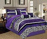 Black and Purple Comforter Sets Queen 7 Piece Oversize Light PURPLE Black White Zebra Leopard Micro Fur Comforter Set Queen Size Bedding 94