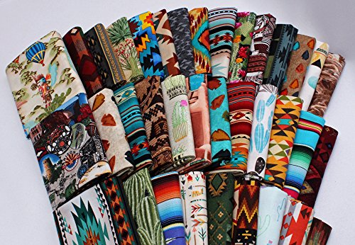 10 Fat Quarters - Southwest Southwestern Aztec Tribal Adobe Cliffs Desert Cactus Plains Woven Blanket Baskets Pottery Stripes Fabrics Quality Quilters Cotton Assorted Fat Quarter Bundle M224.04 (Fat Woven Quarters)