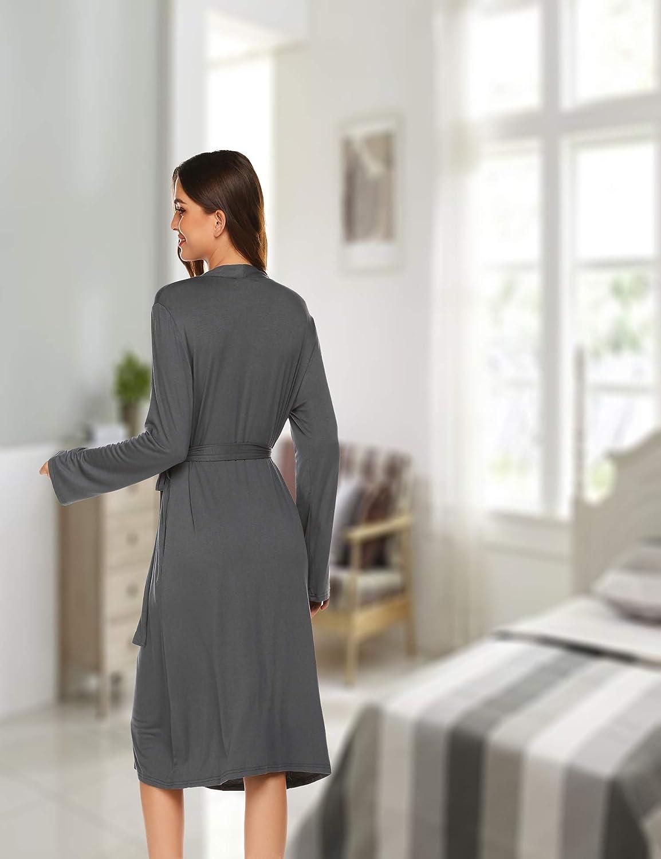 Morgenmantel Damen Lang Umstandsnachthemd Stillnachthemd Langarm Nachthemd Nachtw/äsche Pyjama Schlafmantel f/ür Schwangere Sommer Herbst