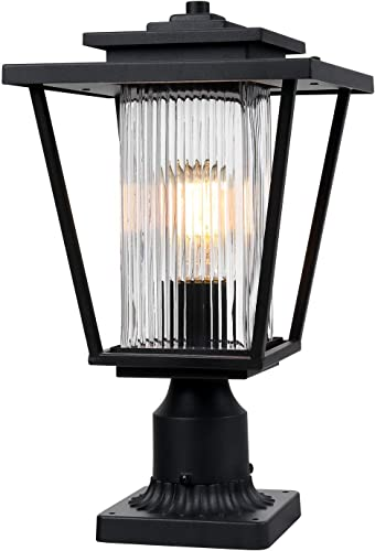 Osimir Outdoor Post Light, 17.5 inch Large Exterior Post Lantern with Pier Mount Base, Black Pier Light Fixture with Clear Ribbed Glass, 2410 1GL