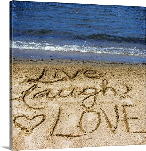 Kimberly Glover Premium Thick-Wrap Canvas Wall Art Print entitled Live Laugh Love In The Sand