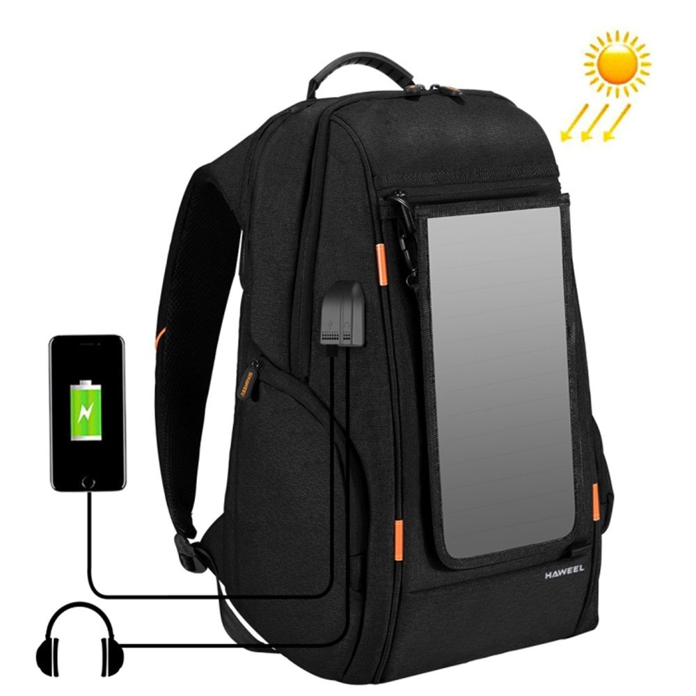 Lemonda Waterproof Oxford Laptop Backpack School Bag Daypack,Outdoor Hiking Camping Travel Backpack with Solar USB Powered Charging Port for Phone,Ipad,Laptop and Notebook (Black)