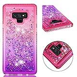 Diamond Quicksand Samsung Galaxy Note 9 Case,Ostop Glitter Flowing Liquid Sparkle Floating Waterfall Cover,Soft TPU Bling Rhinestone Bumper Girls Cute Gradient Phone Case,Pink-Purple