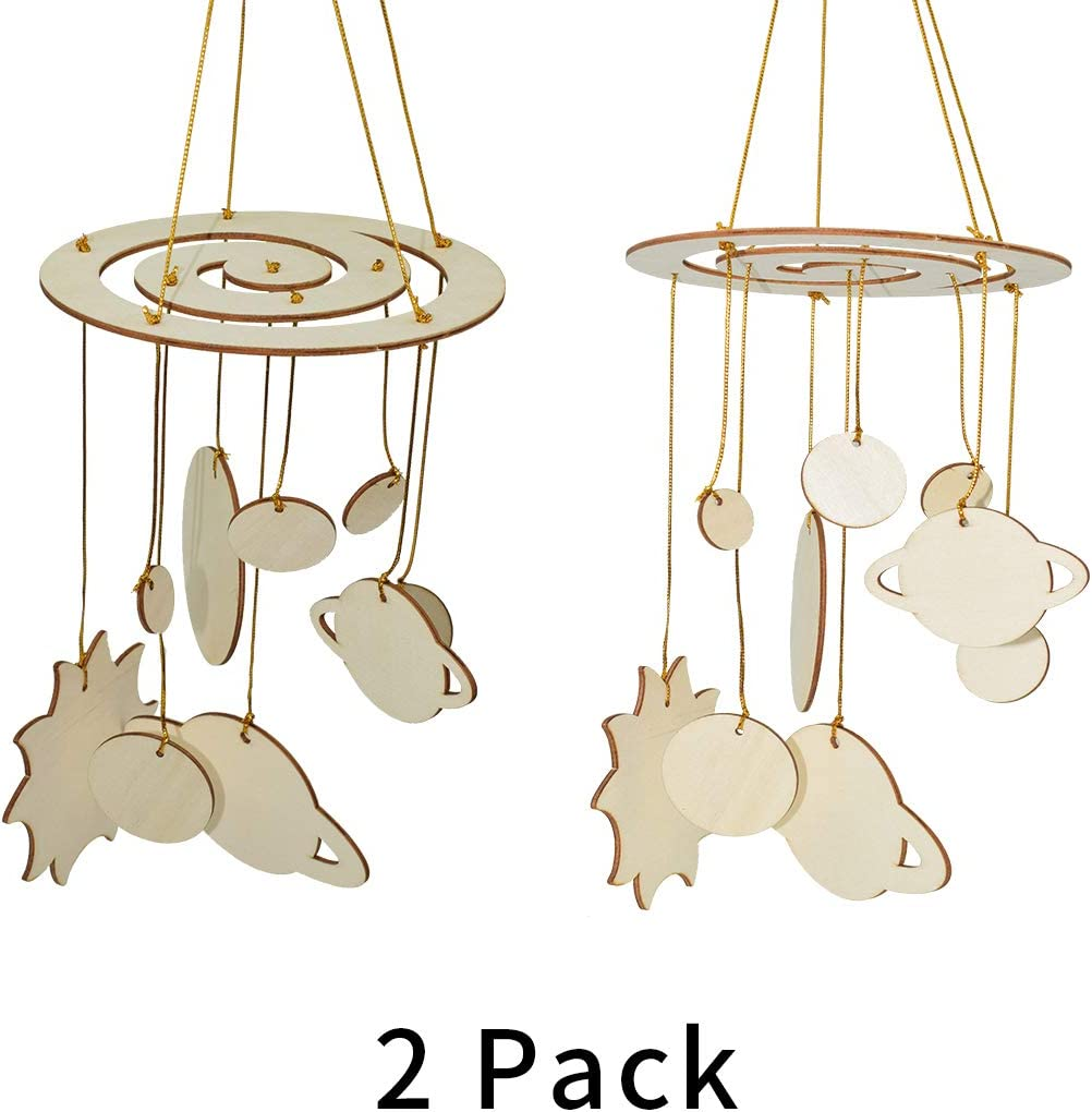 Lolitarcrafts 2 Pack Wooden Solar System DIY Set,Funny Wooden Mobile for Kids Science Projects School Project