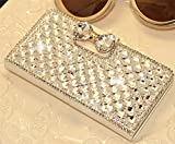 White Luxury 3D Fashion Bling Diamond Bow Bone PU Flip Wallet Leather Case Cover For Smart Mobile Phones (LG Volt LS740 F90 Boost Mobile/ Virgin Mobile, White)