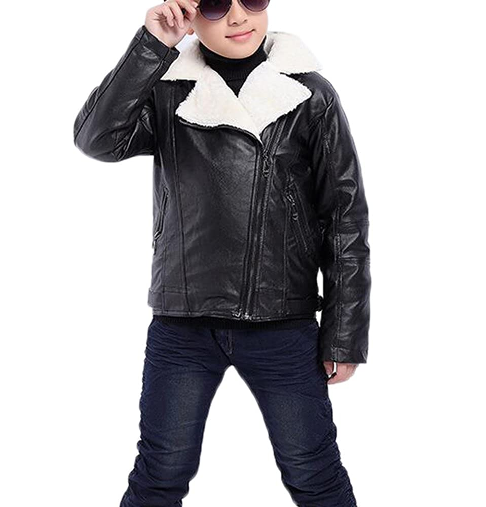 MILEEO New Boys Coats Faux Leather Jackets Children Fashion Outerwear Spring & Autumn