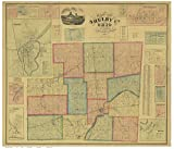 Shelby County Ohio 1865 - Wall Map with Homeowner Names - Farm Lines - Old Map Reprint