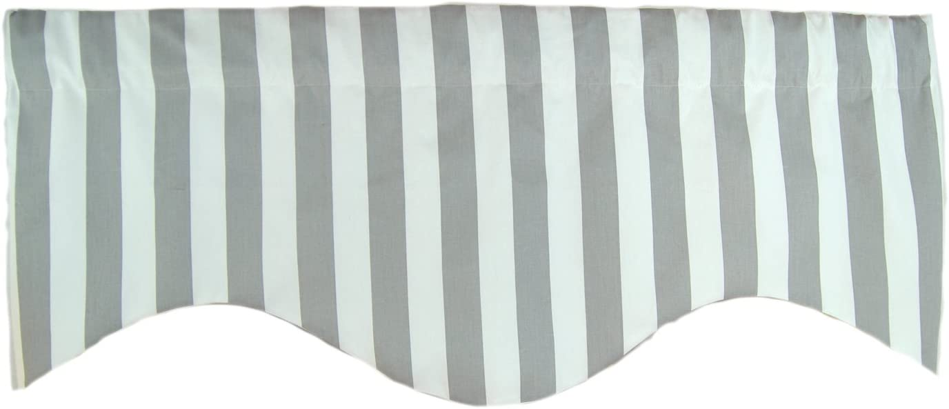 RLF Home Awning Stripe M Shaped Valance, Grey