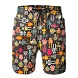 Huadduo All The Colors of The Robot Men's Beach Shorts with Pockets Quick Dry Summer Shorts Swim Trunks