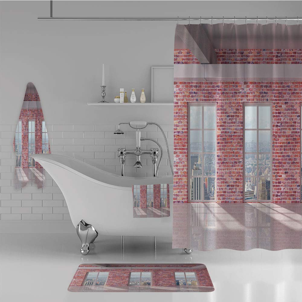 iPrint Bathroom 4 Piece Set Shower Curtain Floor mat Bath Towel 3D Print,Interior with Windows to City Urban Contemporary,Fashion Personality Customization adds Color to Your Bathroom.