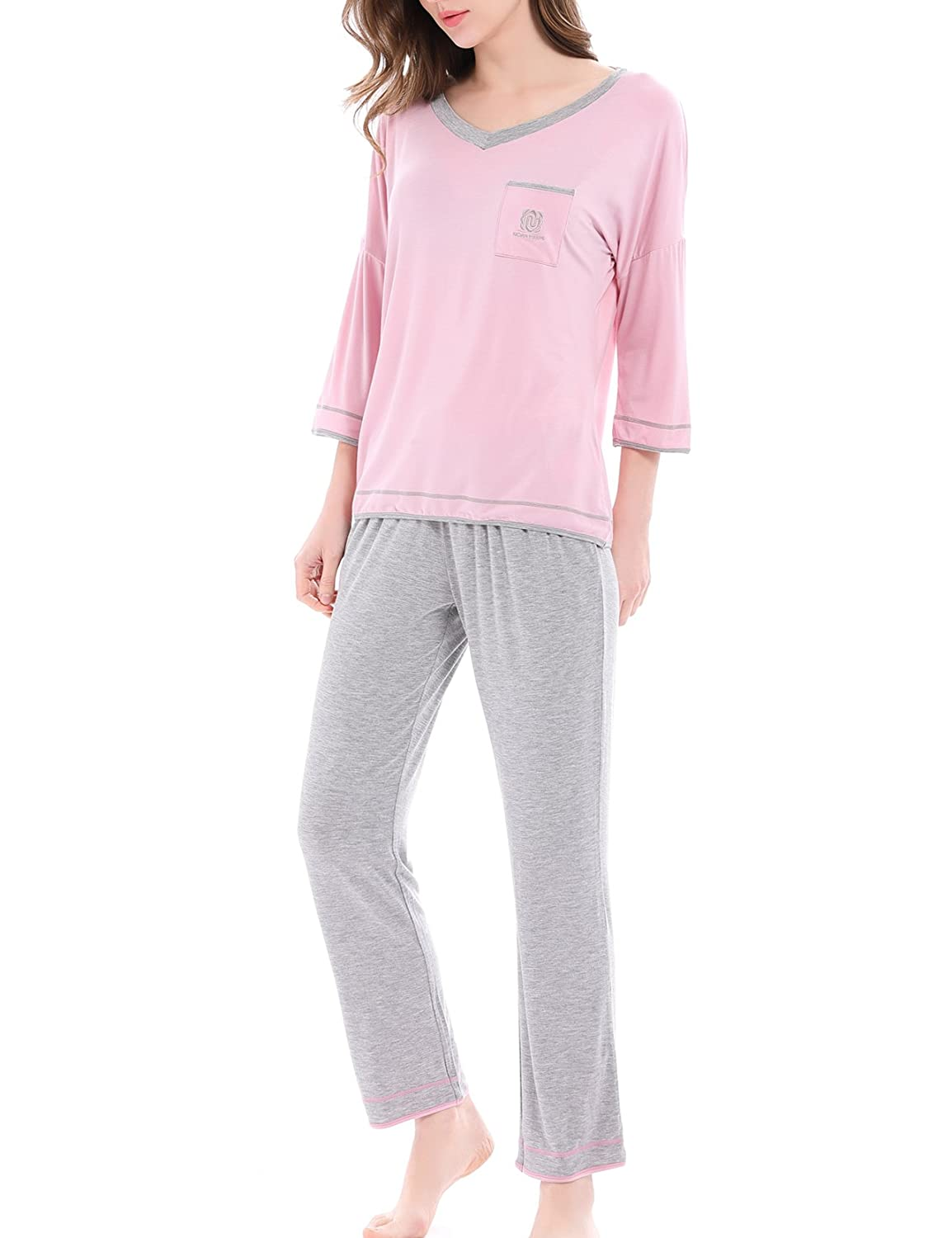 NORA TWIPS Women's Sleepwear Short Sleeves Pajama Set with Pants by Nara Twips(XS-XL) *OY005