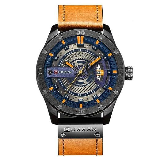 Curren hombres reloj de cuarzo analógico, reloj de pulsera de estilo militar multifunción, resistente