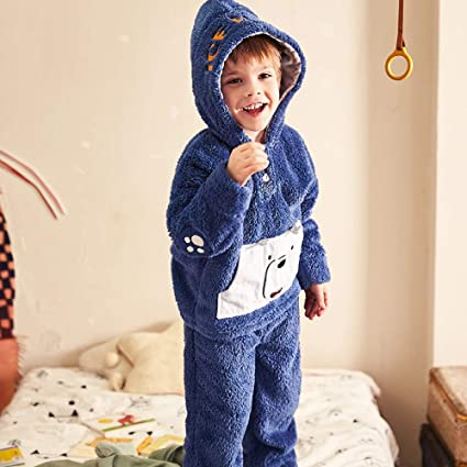 0724eef0be Nightwear Boy Pyjamas Set Sleepwear Loungewear Winter Flannel Coral Fleece  Thick Warm Hooded Bear Cute Cartoon