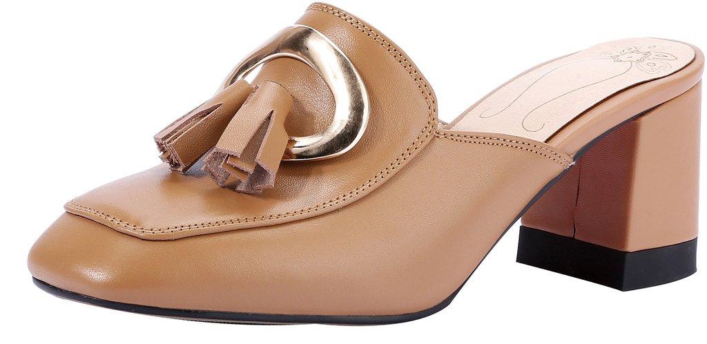 Calaier Mujer Capoint Bloquear 6.5CM Cuero Ponerse Zuecos Zapatos 38.5|Marrón