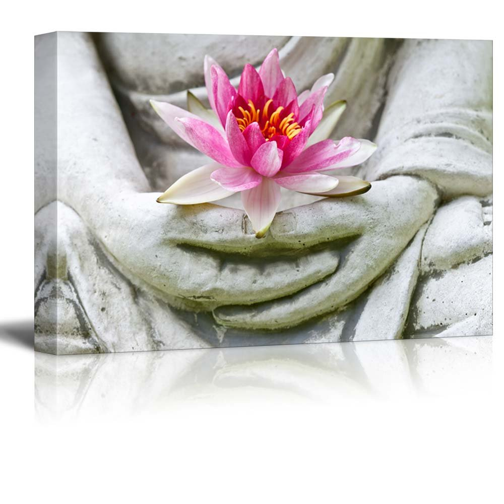 Buddha statue holding a pink lotus flower canvas art wall26 buddha statue holding a pink lotus flower izmirmasajfo