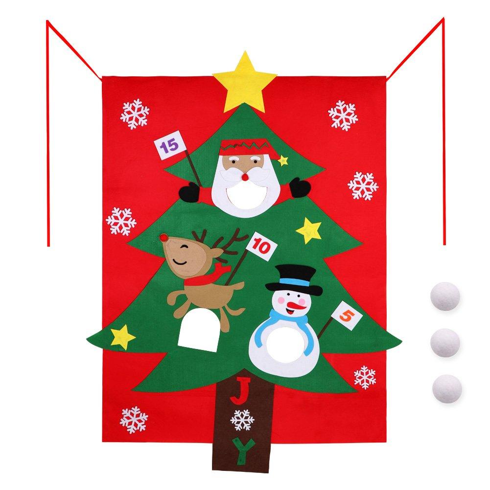 Aytai Christmas Felt Bean Bag Toss Games with 3 Snow Bags Christmas Game for Kids Party Christmas Decorations