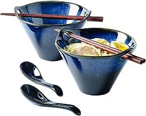Ceramic Large Ramen Bowls Set, 20oz Porcelain Multi Purpose Bowl for Soup, Noodle, Pho, Udon and Soba, 2 Sets (6 Pieces) Noodle Bowl