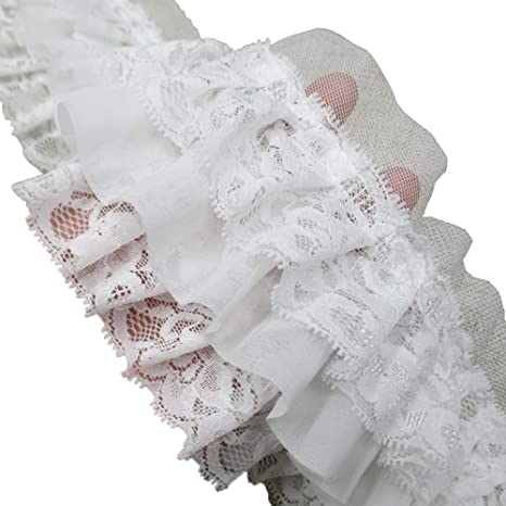 2-Yards, Black 3-1//2 Inch Wide Ruffled Lace Fringe Lace Trim Skirt Extender Dress Sewing Accessory