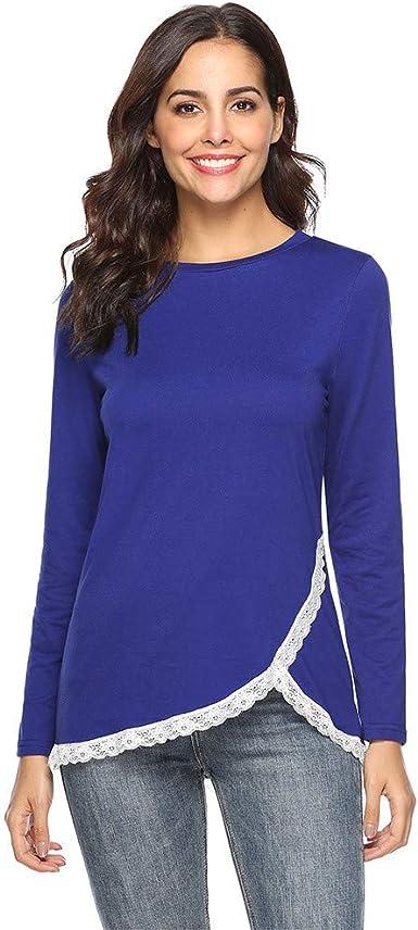 QinMM Camiseta asimétrica de Encaje para Mujer Blusas Tops Manga Larga Cuello en o Elegante Camisa t-Shirt: Amazon.es: Ropa y accesorios