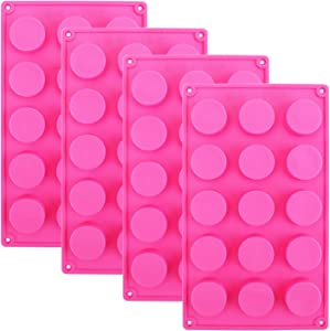 Kingrol 4 Pack Silicone Molds, 15-Cavity Cylinder Chocolate Candy Mold, FlexibleBaking Mold for Mini Muffin, Jelly, Dessert, Ice Cube, Handmade Soap Mould
