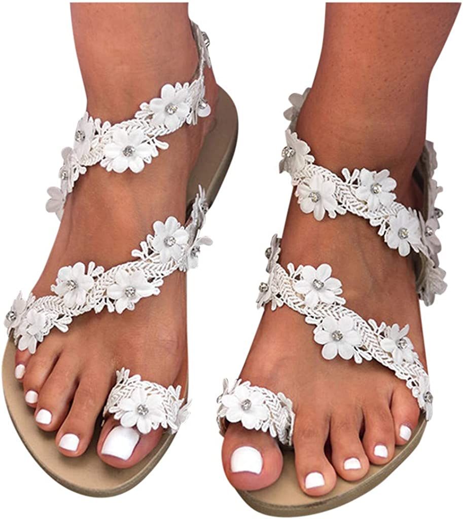 Dainzusyful Womens Flat Sandals,Fashion Hawaiian Flowers Gladiator Flat Sandals Clip Toe Flip Flops Beach Shoes