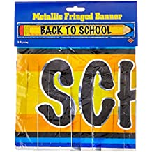 Beistle 57302 Metallic Back To School Fringe Banner, 8 by 5-Feet