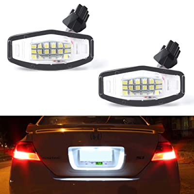 GemPro 2Pcs LED License Plate Light Lamp Assembly For Honda Civic Accord Sedan Odyssey Pilot, Acura TSX MDX TL RDX RL ILX, Powered by 18SMD Xenon White LED Lights: Automotive