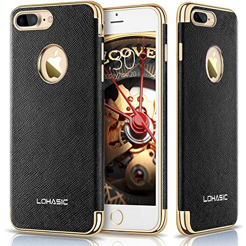 LOHASIC iPhone 7 Plus Case, Premium Leather Flexible Soft Bumper Cover [Slim Body] Luxury Non Slip Protective Shockproof Anti-Scratch Cases Compatible with iPhone 7 Plus - [Black, 5.5