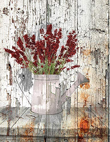 Rustic Country Farmhouse Kitchen Wall Decor Brown Red Floral 8x10 Inch Picture With 11x14 Inch White Mat