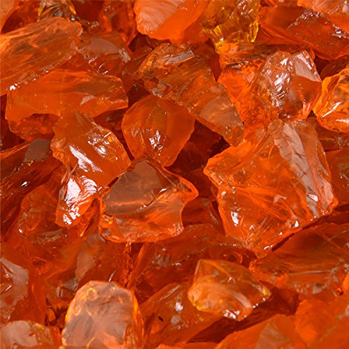 Tangerine - Crushed Fire Glass for Indoor and Outdoor Fire Pits or Fireplaces | 10 Pounds | 1/2 Inch - 3/4 Inch (Stone Fireplace Washed)
