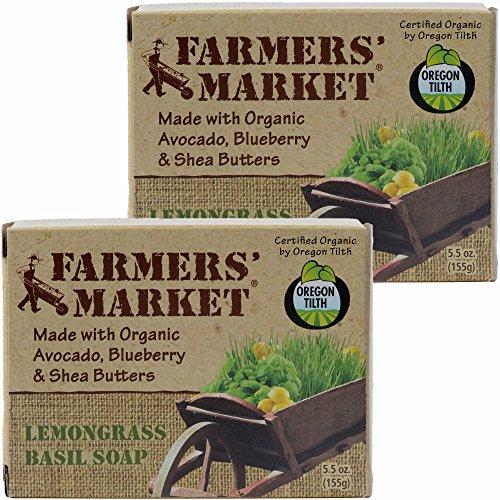 Lemongrass Basil - Farmers' Market Organic Bar Soap, Pack of 2, 5.5-Ounces Each