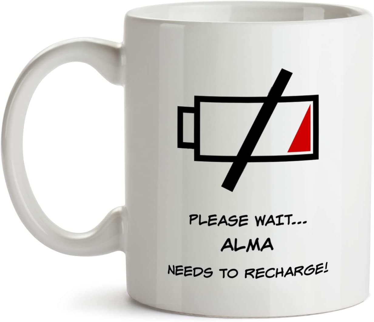 Amazon Com Alma Gift Mug Aa136 Funny Time To Recharge Personalized Custom Name Appreciation Coffee Tea Cup For Women Inexpensive Coworker Colleague Present Kitchen Dining