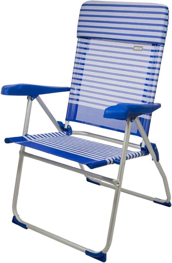 Aktive 53981 Silla plegable aluminio con cojín para la playa, 7 posiciones, 66 x 64 x 101 cm
