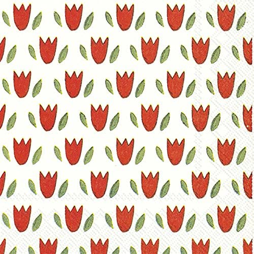 TULIP GARDEN Red Cocktail or Tea Napkins paper 25 cm square 20 in pack